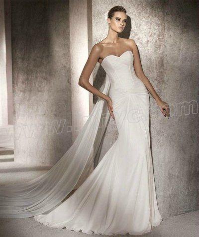 Chiffon Mermaid Strapless Sweetheart Neckline Gathered Bust Wedding Dress