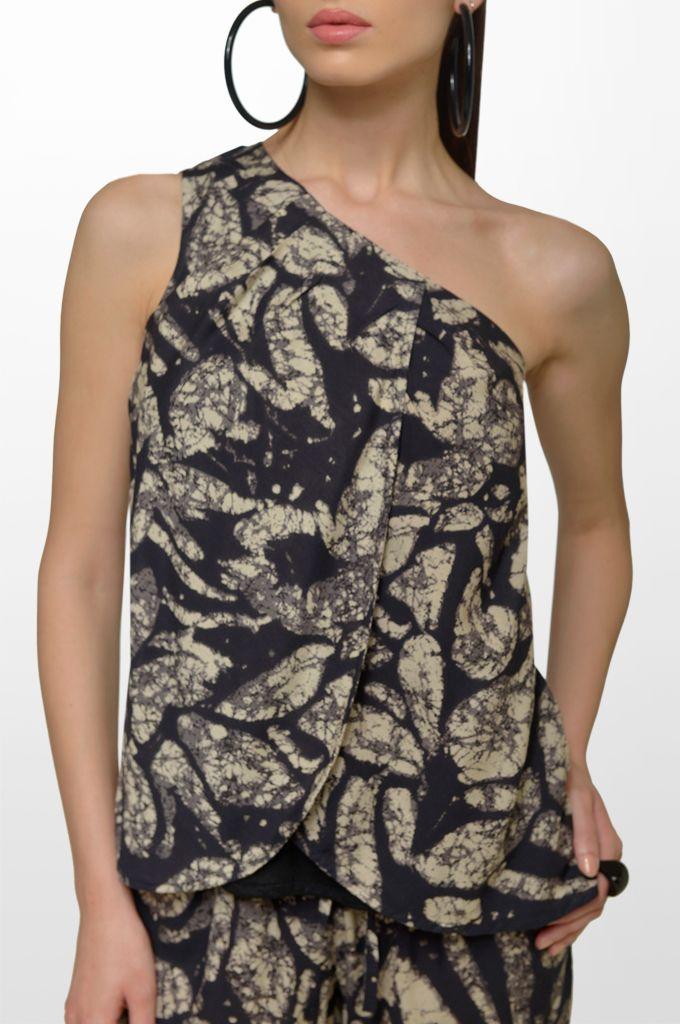Sarah Lawrence - one shoulder printed top, drawstring printed loose trouser.    Drawstring printed loose trouser