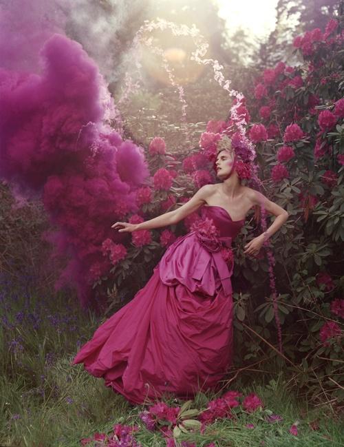 Stella Tennant and pink powder cloud.  Eglingham Hall, Northumberland, 2007