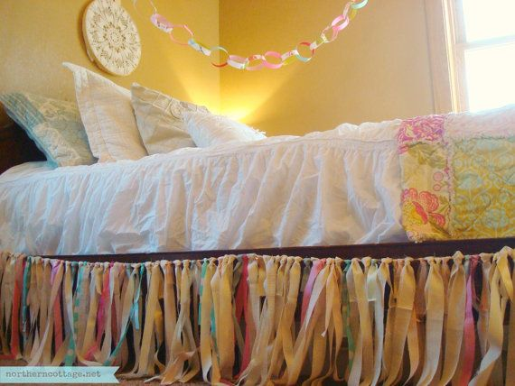 Custom FABRIC GARLAND Ribbon DuST RuFFLe BeD SKiRT - Shabby Chic, Romantic, Modern, Rustic, Twin