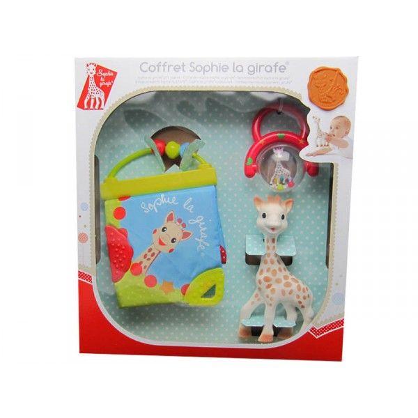Coffret cadeau naissance composé de: Sophie la girafe, 1 livre d'éveil en tissu, 1 boulier rouge. Sophie la girafe est composée de caoutchouc naturel (comme la tétine du biberon) et de peinture alimentaire, bébé peut la mordiller sans danger. Dimension de Sophie la girafe : hauteur 18 cm. Coffret avec un hochet boulier rouge.