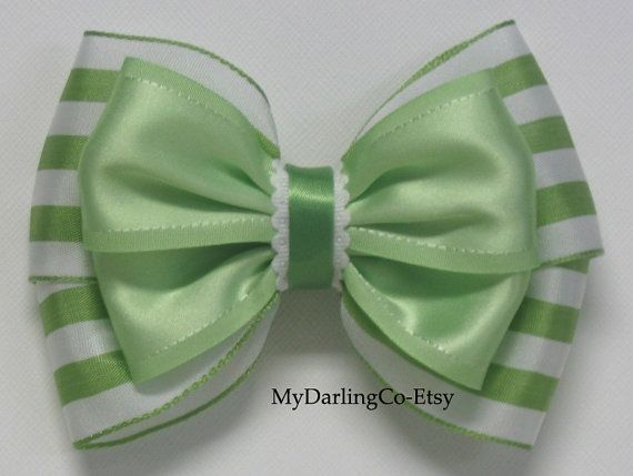 Green & White Striped Hair Bow -- My Darling Company Etsy