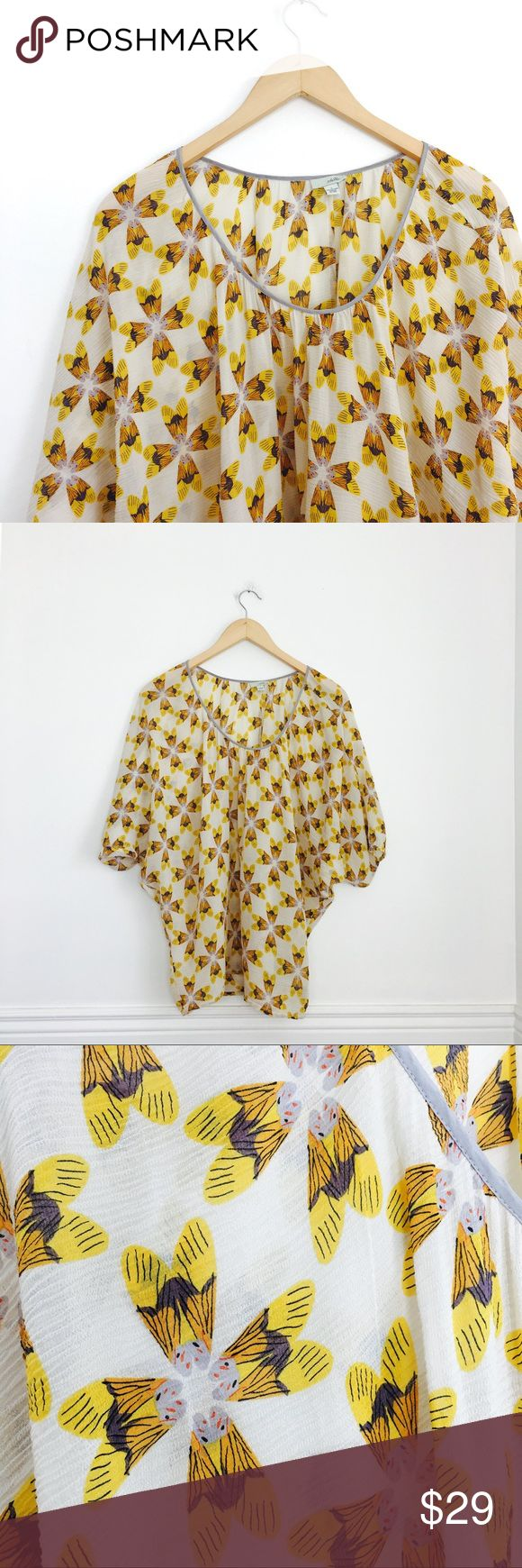 "Anthropologie Odille blouse Odille lightweight semi-sheer batwing blouse with yellow moths print. Silk and cotton. Size S. Chest 29"", length 27"". Last photo show a couple of tiny runs in the fabric. Anthropologie Tops Blouses"