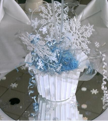 17 best images about snowflake centerpiece on pinterest for Winter themed wedding centerpieces