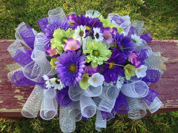 Floral Headstone Gravestone or Mailbox Saddle Deco Mesh Purple and Green Color Scheme or Customize on Etsy, $45.00