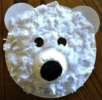 Made from paper plates with glued tissue paper or toilet paper pieces and black pompoms or black construction paper could work too.