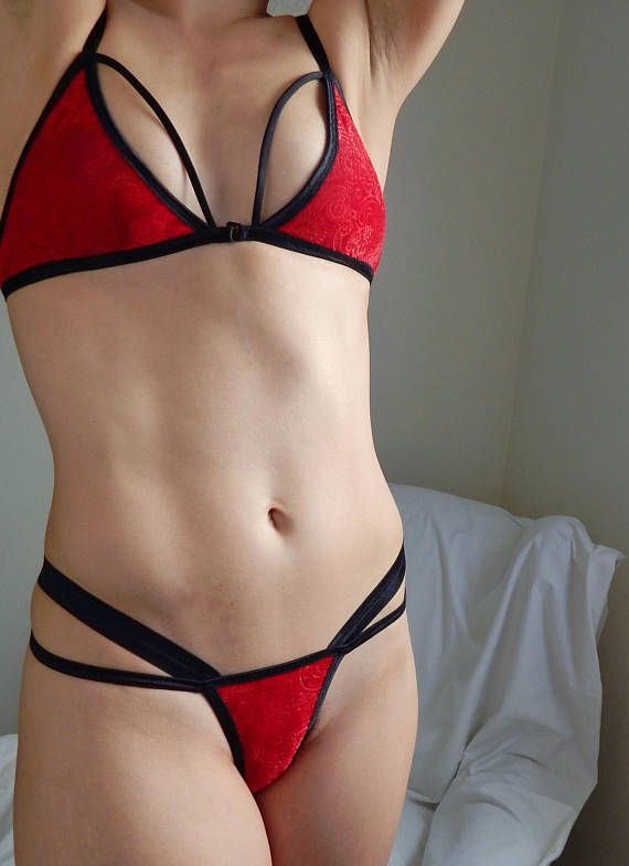 Red velvet strappy g-string panties naughty girl gift womens