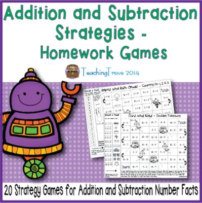 Addition and Subtraction Strategies – games for homework, morning work or math centers. from Teaching Trove on TeachersNotebook.com -  (28 pages)  - These 20 addition and subtraction strategy games have been designed to be used for reviewing each addition and subtraction strategy used for teaching basic number facts