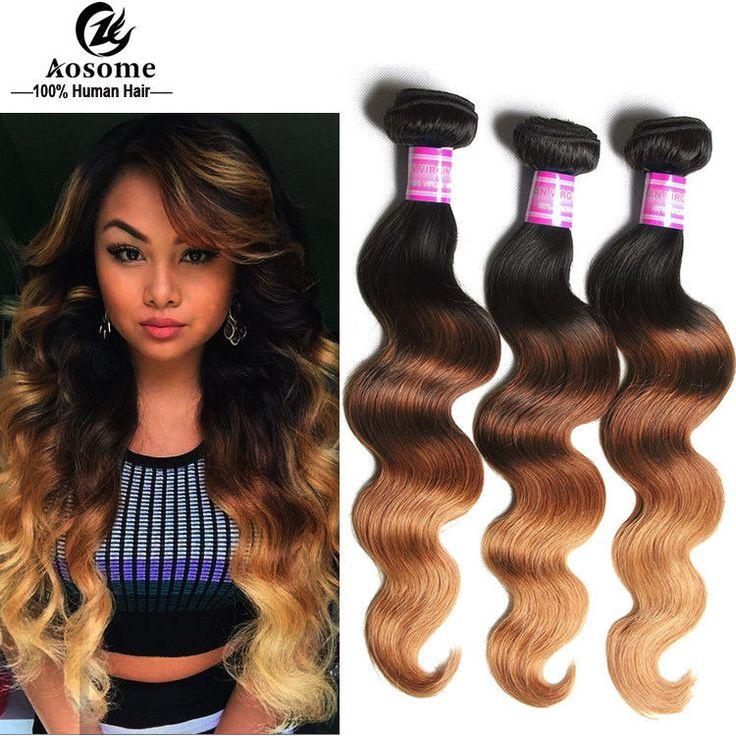 Brazilian Virgin Human Hair bundles Ombre 3 Tone Body Wave Hair Weave Extensions #AOSOME #WaveBundle