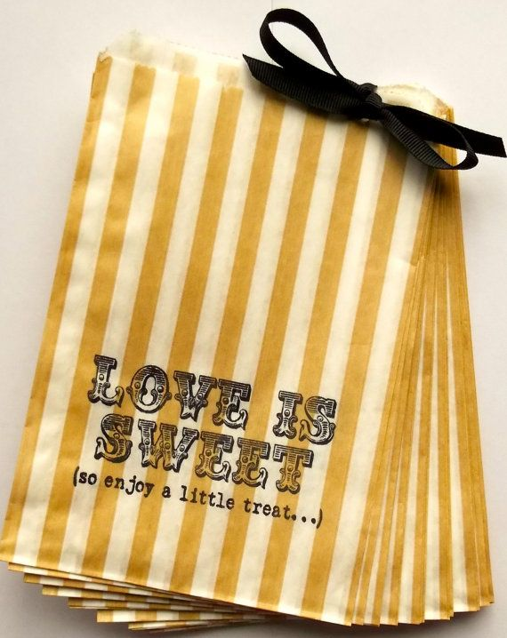 50 Gold and White Stripe 'Love is Sweet So by Marrymevintageirish