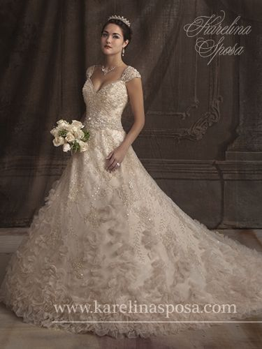 A-line, French tulle gown featuring v-neckline with cap sleeves, chapel train, beads, sequins, crystals, pearls, and shawl.