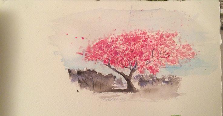 Cherry blossoms. Schmincke watercolours, arches paper.