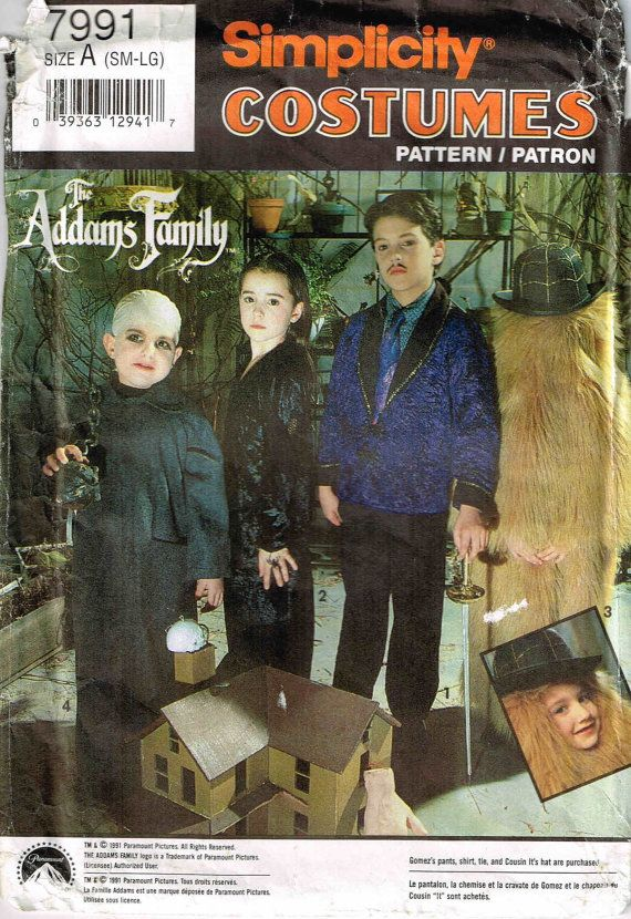 Addams Family Cousin it Gomez Morticia Uncle Fester Sewing Pattern Simplicity 7991  by PeoplePackages
