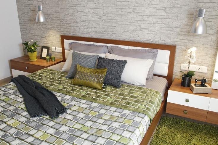 Master Bed - Headboard - Skyline Ivy League    SAVIO and RUPA Interior Concepts Bangalore | professional apartment interior designers Bangalore | Modern villa Interior Designers | Residential Interior Designs