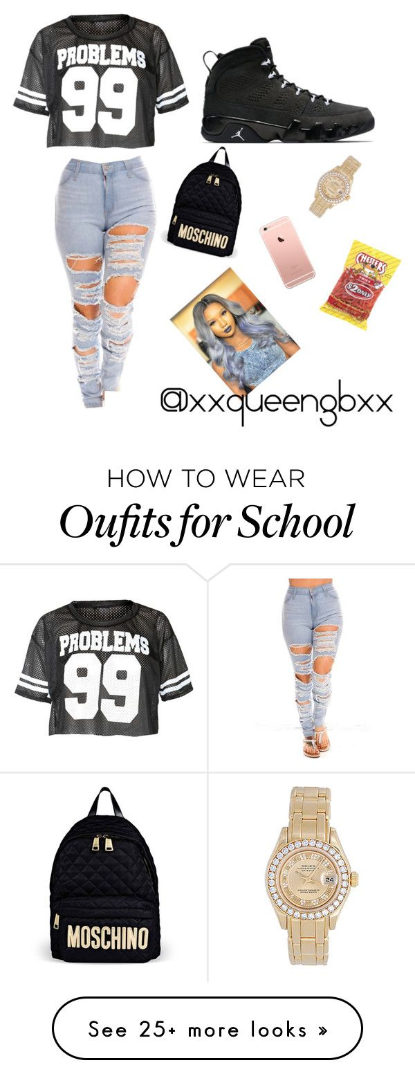 """High school-(senior)"" by xxqueengbxx on Polyvore featuring Moschino and Rolex"