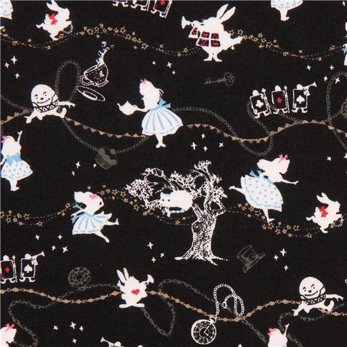 black Kokka Alice in Wonderland fairy tale fabric tea from Japan
