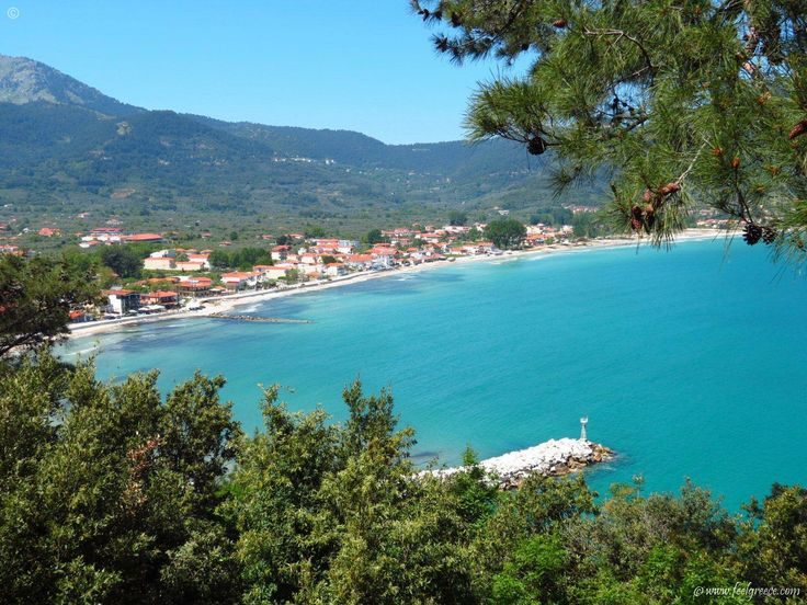 hidden panoramic view to Skala Potamia - popular resort with family hotels and sandy beach - Thassos Island
