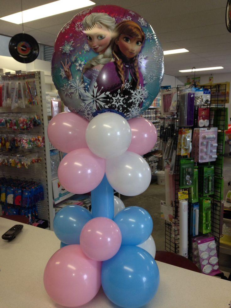 Disney frozen balloon table decoration centerpieces for Frozen balloon ideas