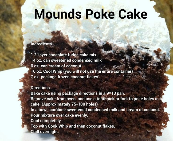 Mounds Poke Cake I Might Add The Coconut Flakes To Cake