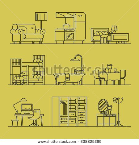Set of trendy linear icons on various room types, home interior | Thin line contour illustrations on living room, kitchen, bathroom, kids' room, dining, bedroom, workspace and more - stock vector