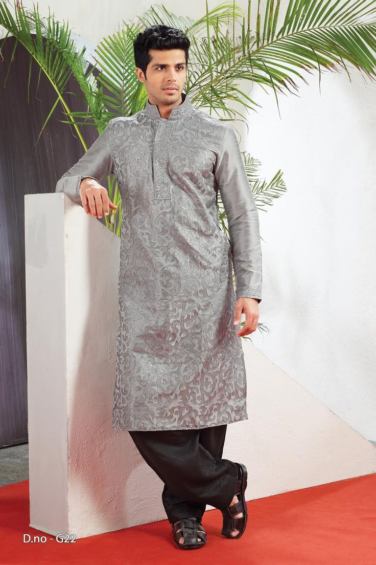 Grey Poly Dupion Readymade Kurta Pajama  http://www.silk-india.com/en/82-kurta-pajama 53.99$  Now, place your Order now : Email:- raksha@silk-india.com
