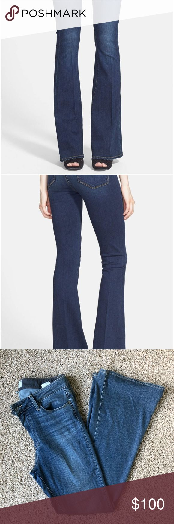Paige premium denim bell canyon high rise PETITE Gorgeous pair of Paige premium denim high-rise flares! Excellent used condition, worn only a handful of times. They are just too big, as I've lost a little weight! Take note, these are petite! Inseam is 31.5 inches PAIGE Jeans Flare & Wide Leg