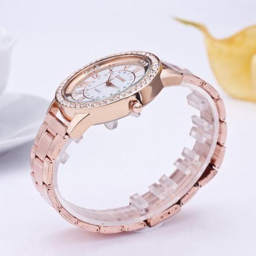 Ladies Crystal Rhinestone Stainless Steel Fashion Rose Gold Watch