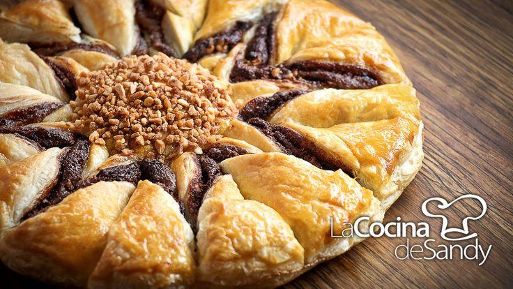 Tarta de hojaldre chocolate nutella y almendras en 40 minutos