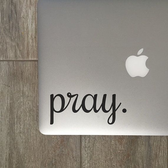 Pray  Vinyl Decal  Laptop Decal  Macbook Decal  by MoonAndStarCo