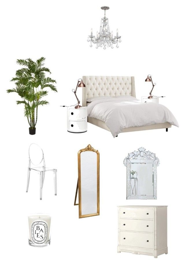 bedroom by zoe-alexa-robinson on Polyvore featuring interior, interiors, interior design, home, home decor, interior decorating, Kartell, Diptyque and bedroom