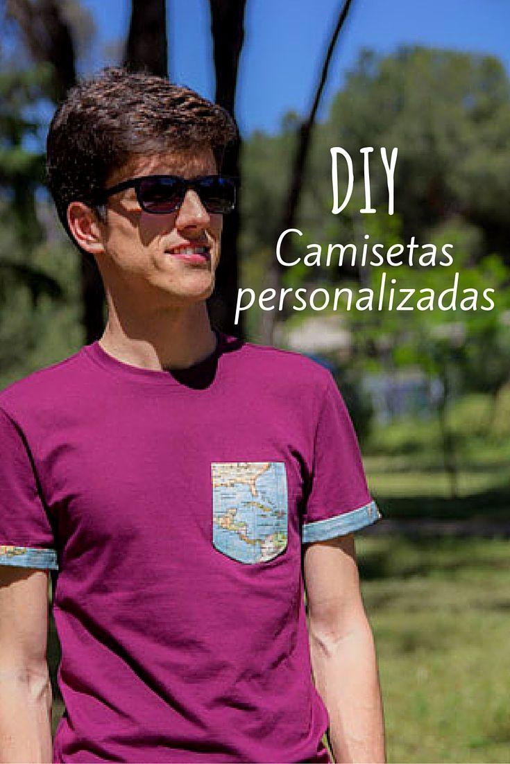 Camisetas decoradas con tela ➜Elige una tela que te guste y personaliza tus camisetas. Puedes hacerte un bolsillo de tela y ponerle bordes a las mangas a juego.   #Camisetas #Ropa #DIY #Customizar #Personalizar