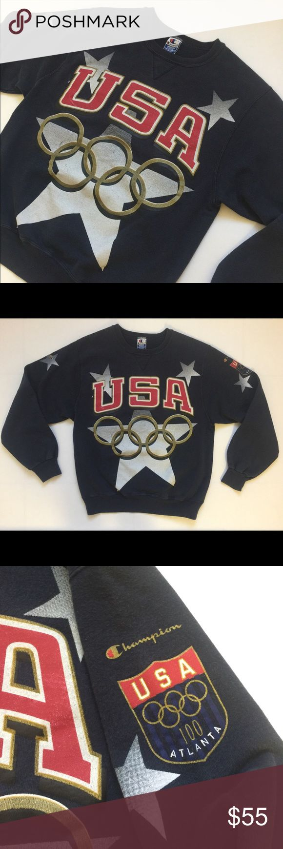 Vtg Champion Sweatshirt 1996 Olympics USA Vintage Champion brand Sweatshirt from the 1996 Olympics in Atlanta for TEAM USA THE DREAM TEAM. Men's Medium. Awesome design on the front and both sleeves. It is in good condition. Shipping same day or next day! Champion Sweaters Crewneck