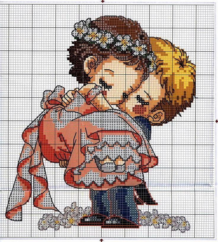 "схема вышивки крестом жених и невеста ""Bride and groom"" cute and simple free cross stitch pattern"