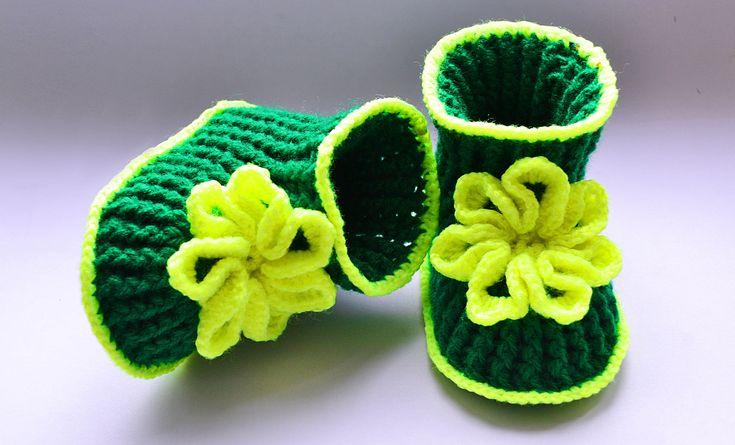 Пинетки крючком. Мастер класс. Baby booties, crochet DIY
