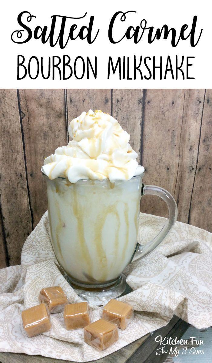 Salted Caramel Bourbon Milkshake recipe | Adults-Only Cocktail #bourbon #milksha…