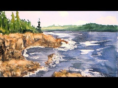 Hello Friends! Today we are going to paint a coastal landscape with one brush and four colors of watercolor paint. This is a beginner tutorial, I explain mixing color, using a wax resist, compositi...