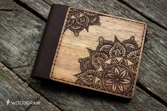 Wooden Leather Wallet, Personalized Leather Wallets, Wood wallet, Mens wallet, Mandala, Womens gift Boyfriend gift, Husband gift, Mens gift