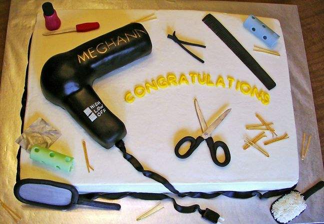 Graduation Cake for stylists :) Be the first to cut it.  join Hair styling Program today! at NATIONAL INSTITUTE. BOOK FREE TOUR CALL :905-463-2006
