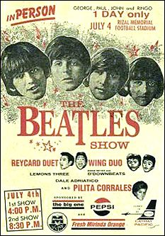 A garish poster from The Beatles concert in Manila, Philippines, on July 4, 1966.