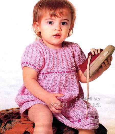 розовое платье для девочки вязаное спицами