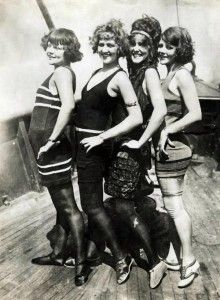 1923- Ready for the Beach - 1920s swimsuits, swim stockings and shoes.  Love the third girl's hair!