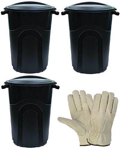 United Solutions 32 Gallon Injection MoldedTrash Can – Black (3