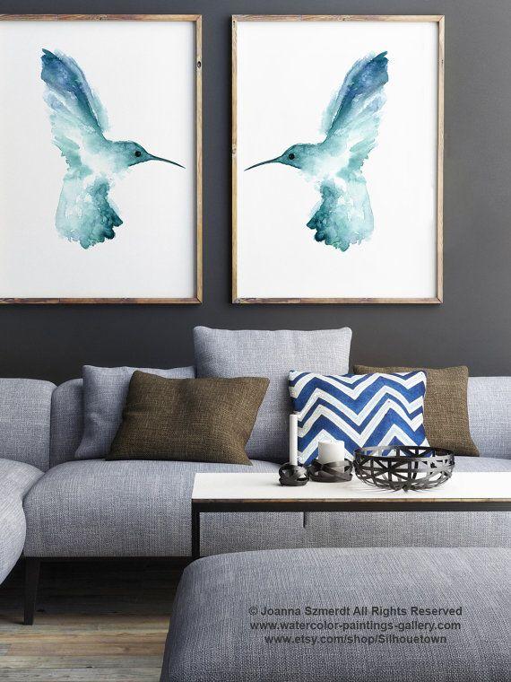 Juego de colibrí de 2 Teal pintura de Birdies por ColorWatercolor
