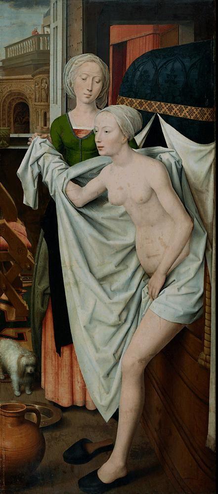 Ганс Мемлинг (нем. Hans Memling, 1433-1494). Купание Batsheba , Штутгарт, Государственная галерея