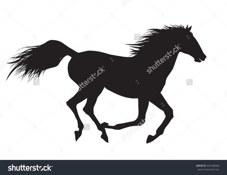 Vector Illustration Of Running Black Horse - 456188968 : Shutterstock