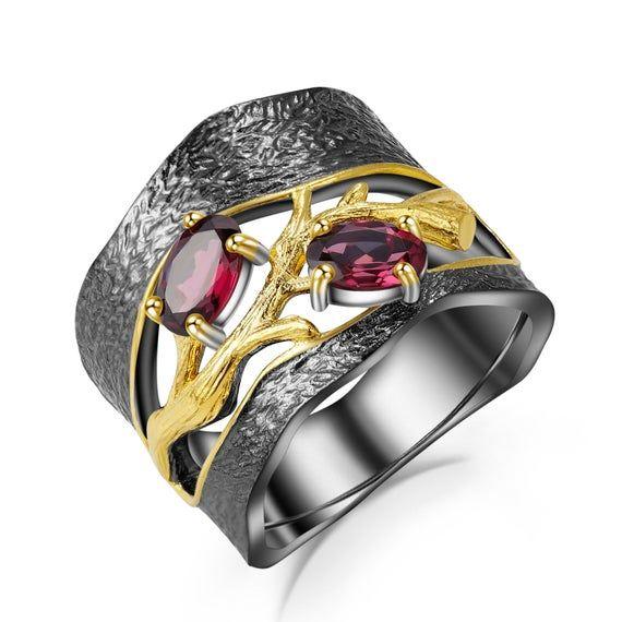 925 Sterling Silver Ring Handmade Ring Natural Garnet Gemstone Ring Anniversary Ring Rhodolite Garnet Ring Handcrafted Ring Jewelry