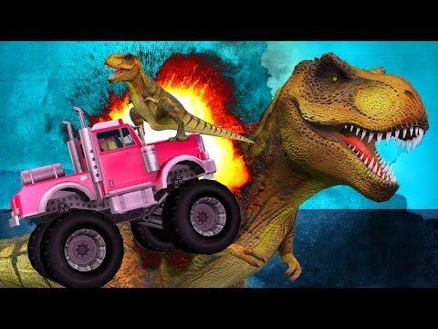 Dinosaurs Cartoons for Children | Monster Trucks Vs Sharks | Funny Animals Cartoons for Babies - YouTube