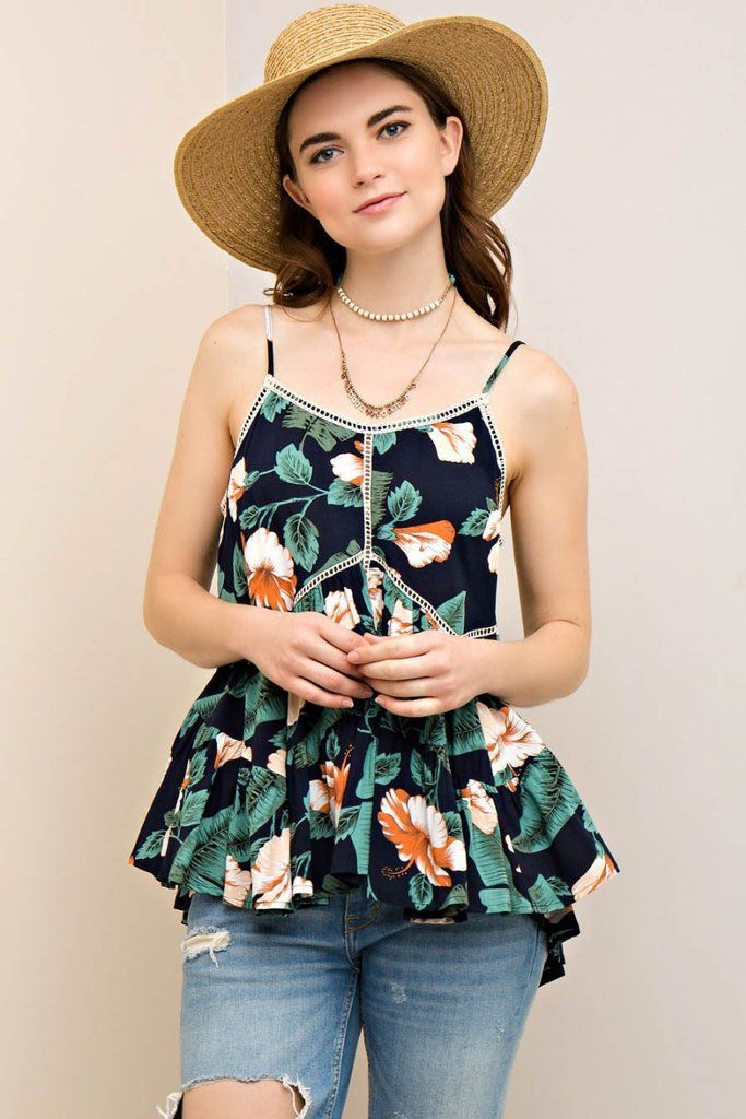 Floral Print Tiered Top