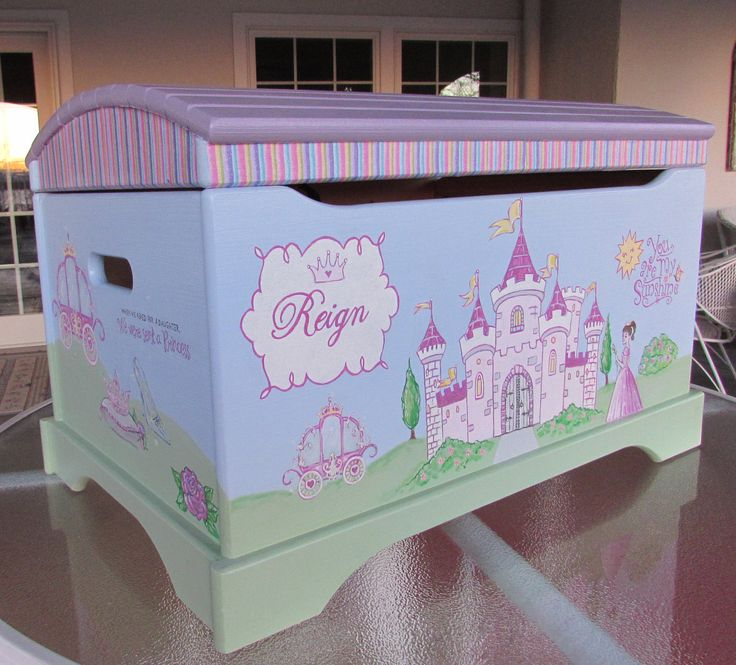 Large Hand Painted Princess Toy Chest, Castle Toy Chest, Girls Toy Chest, by MunchkinPlanet on Etsy