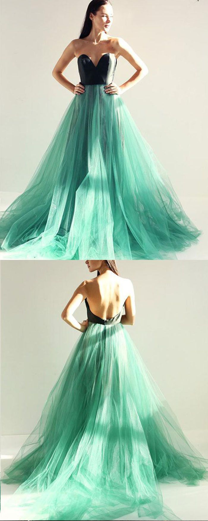 Sweetheart Black And Green Tulle Long Prom Dress With Open Back Pm1399 Prom Dresses For Teens Mint Green Prom Dress Green Prom Dress [ 1750 x 700 Pixel ]